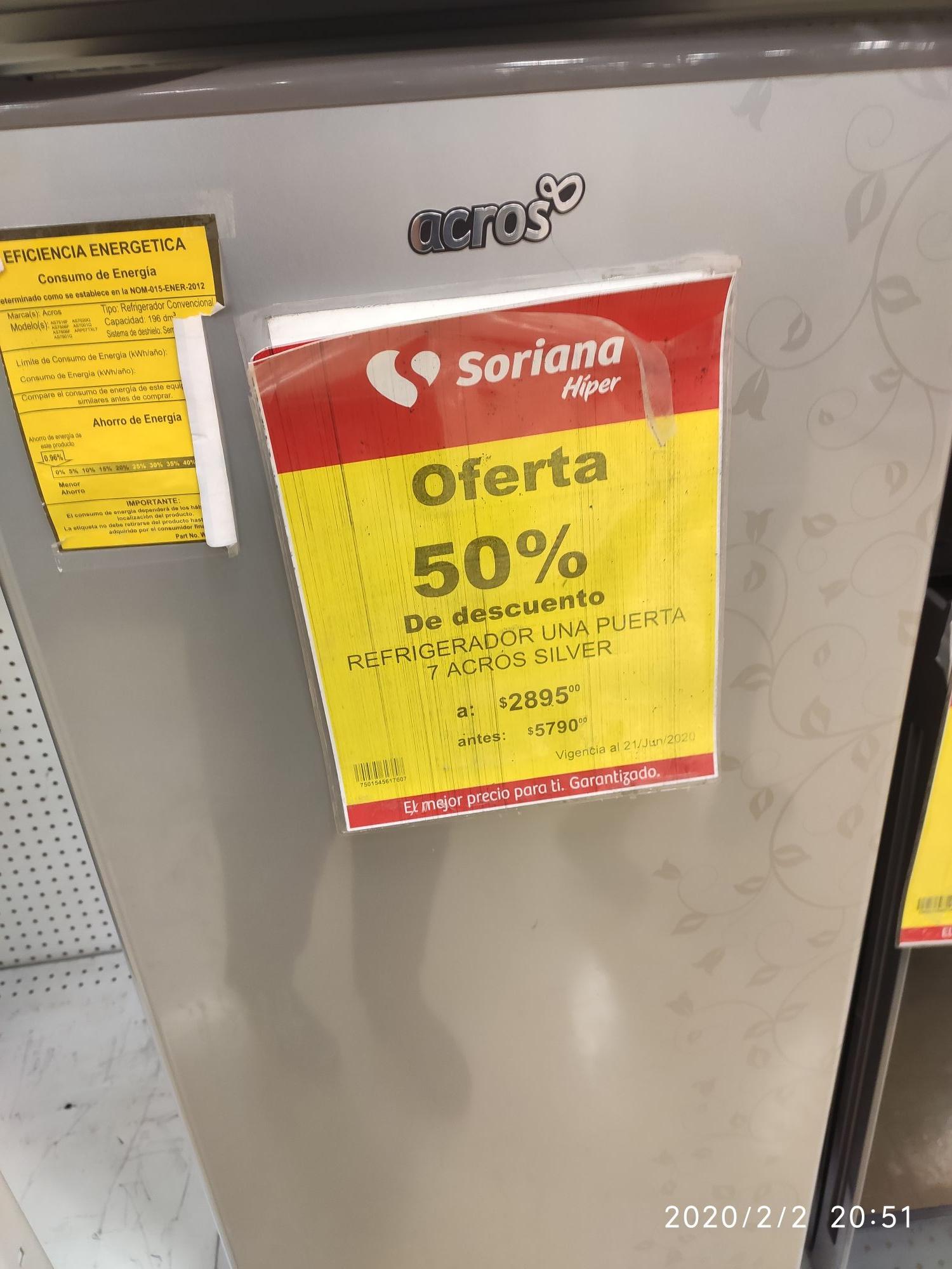 Soriana: Refrigerador acros 7 pies 50%