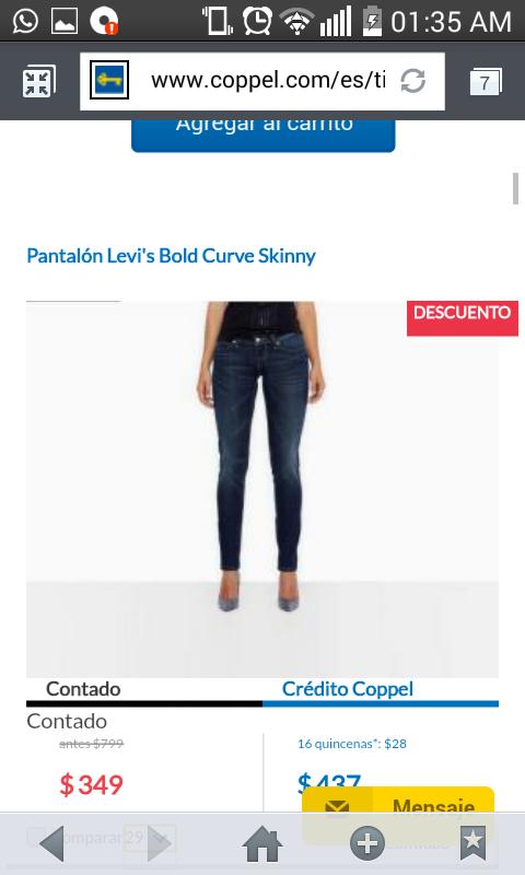 Coppel en línea: pantalón Levi's Bolde Curve Skinny para dama a $349