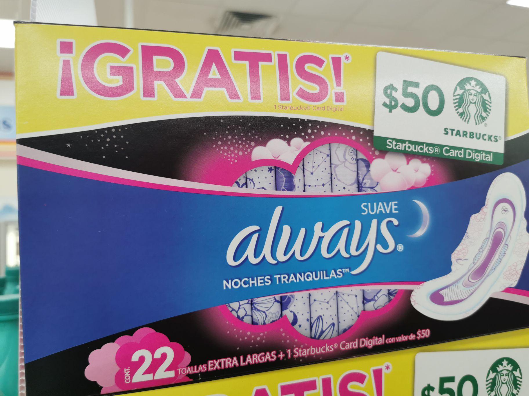 Farmacia Guadalajara: Toallas femeninas always + tarjeta con 50 pesos starbucks