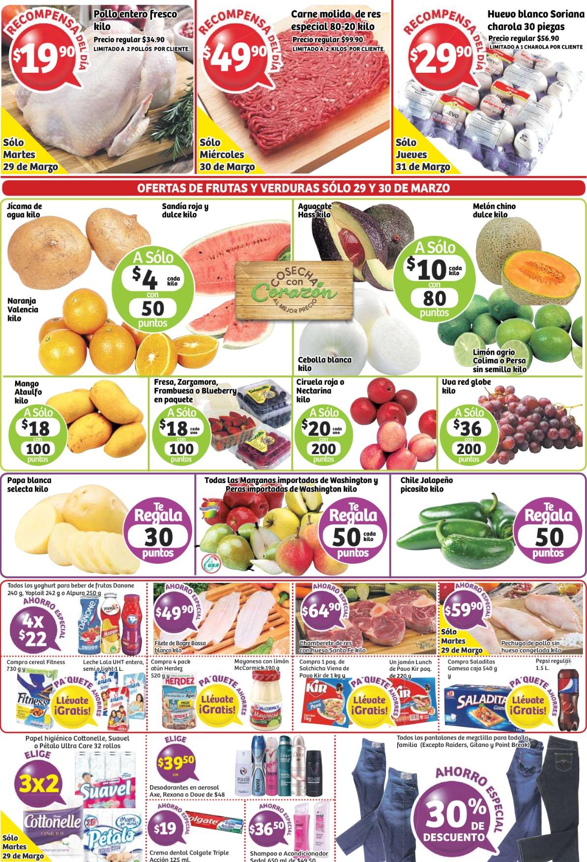 Soriana: ofertas de frutas, carnes y mas del 29 al 31 de marzo