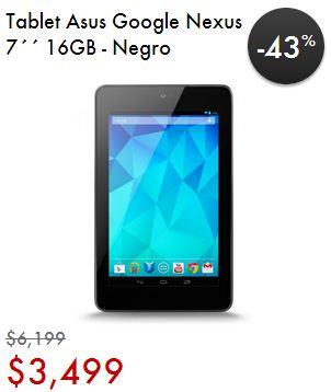 Linio: tablet Nexus 7 $3,499 y 12 MSI + otras promociones (tarjeta Santander)