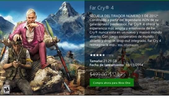 Xbox Marketplace: Far Cry 4 para Xbox One a $124.75