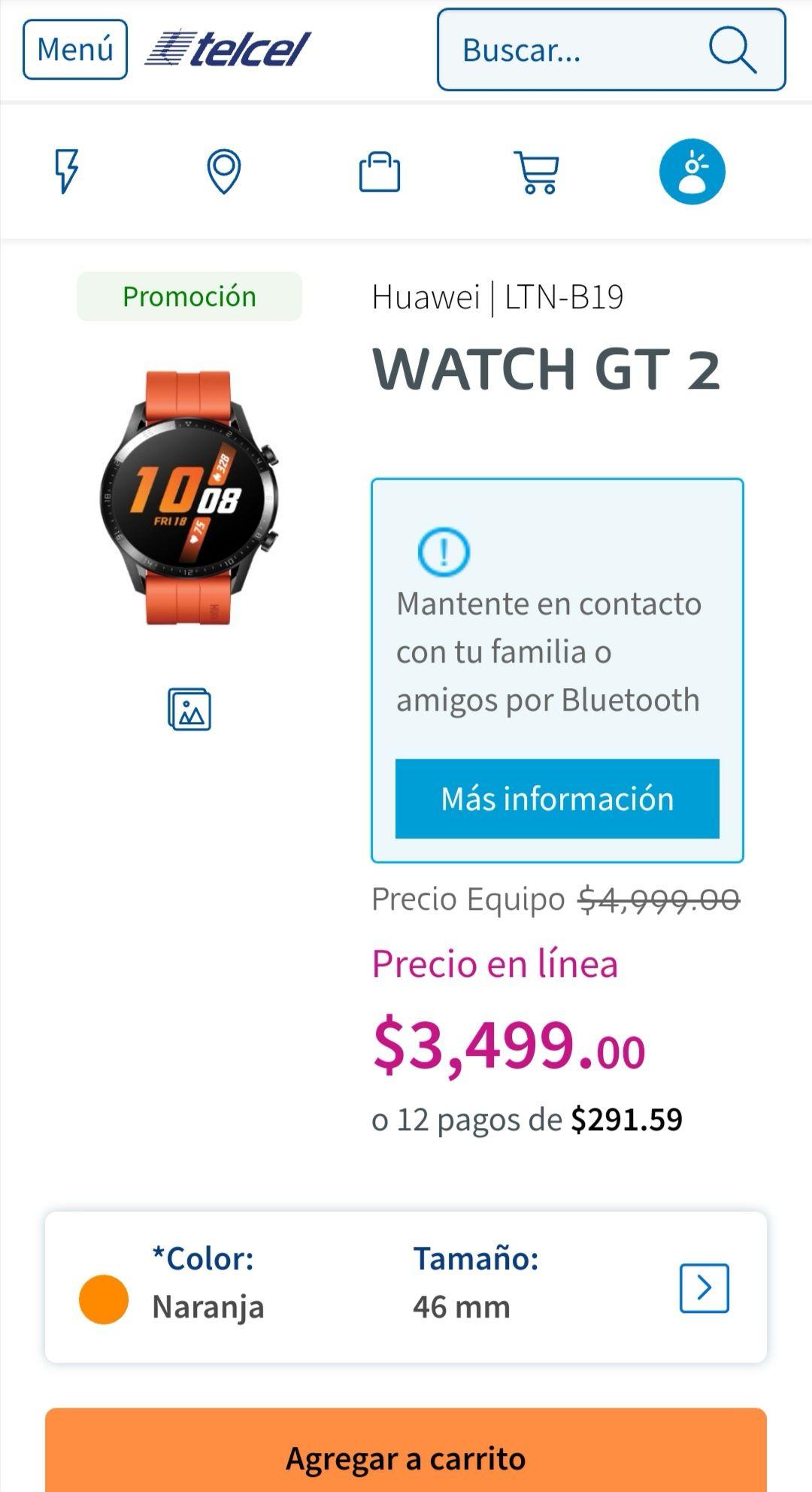 Telcel en línea: Huawei Watch GT 2