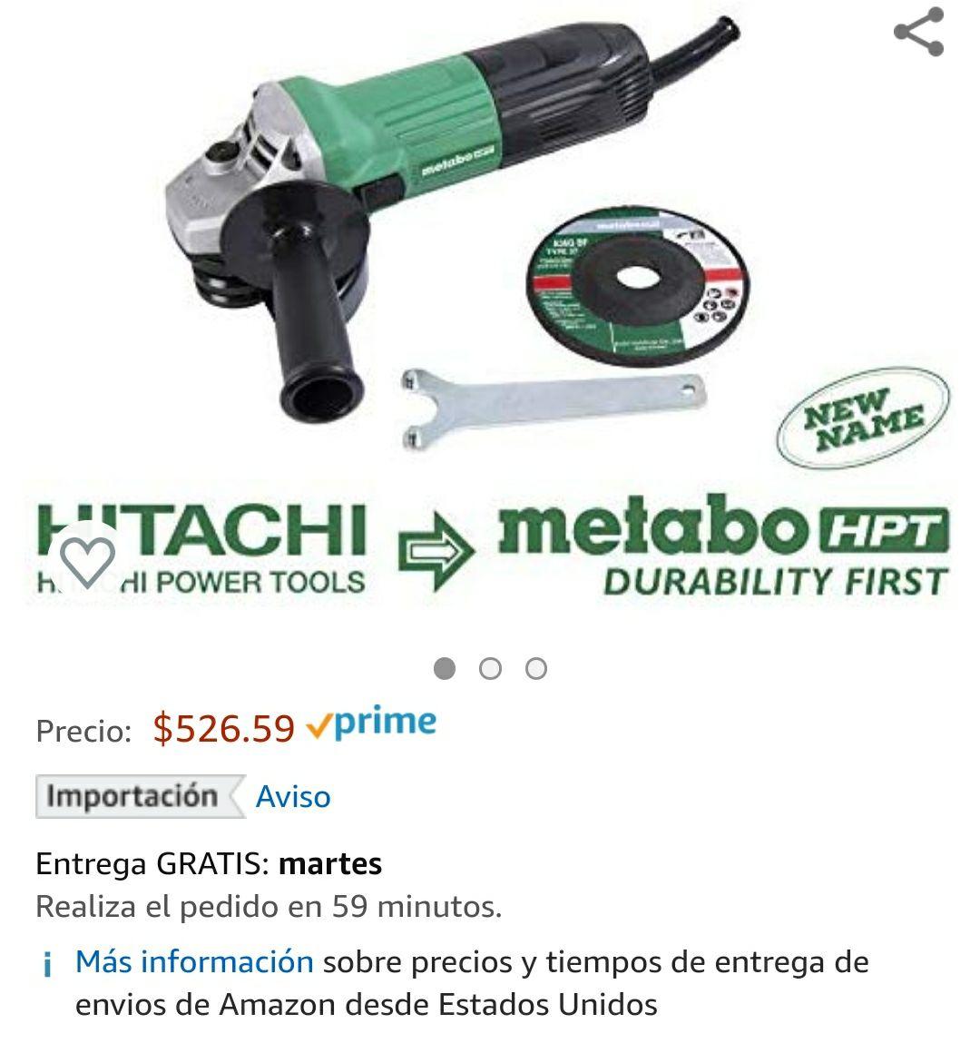 Amazon: mini esmeriladora Hitachi (Metabo) 4 1/2