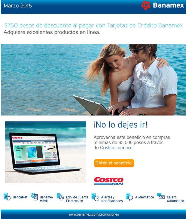 Costco en línea: $750.00 de descuento en compras mínimas de $5,000 pagando con Tarjeta Banamex y Costco, Marzo 30