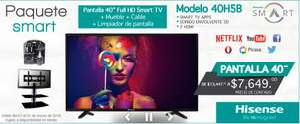 "Sears en línea: paquete de pantalla LED Hisense 40"" Full Hd Smart 40H5B + Mueble de Pared + Accesorios a $7,649"
