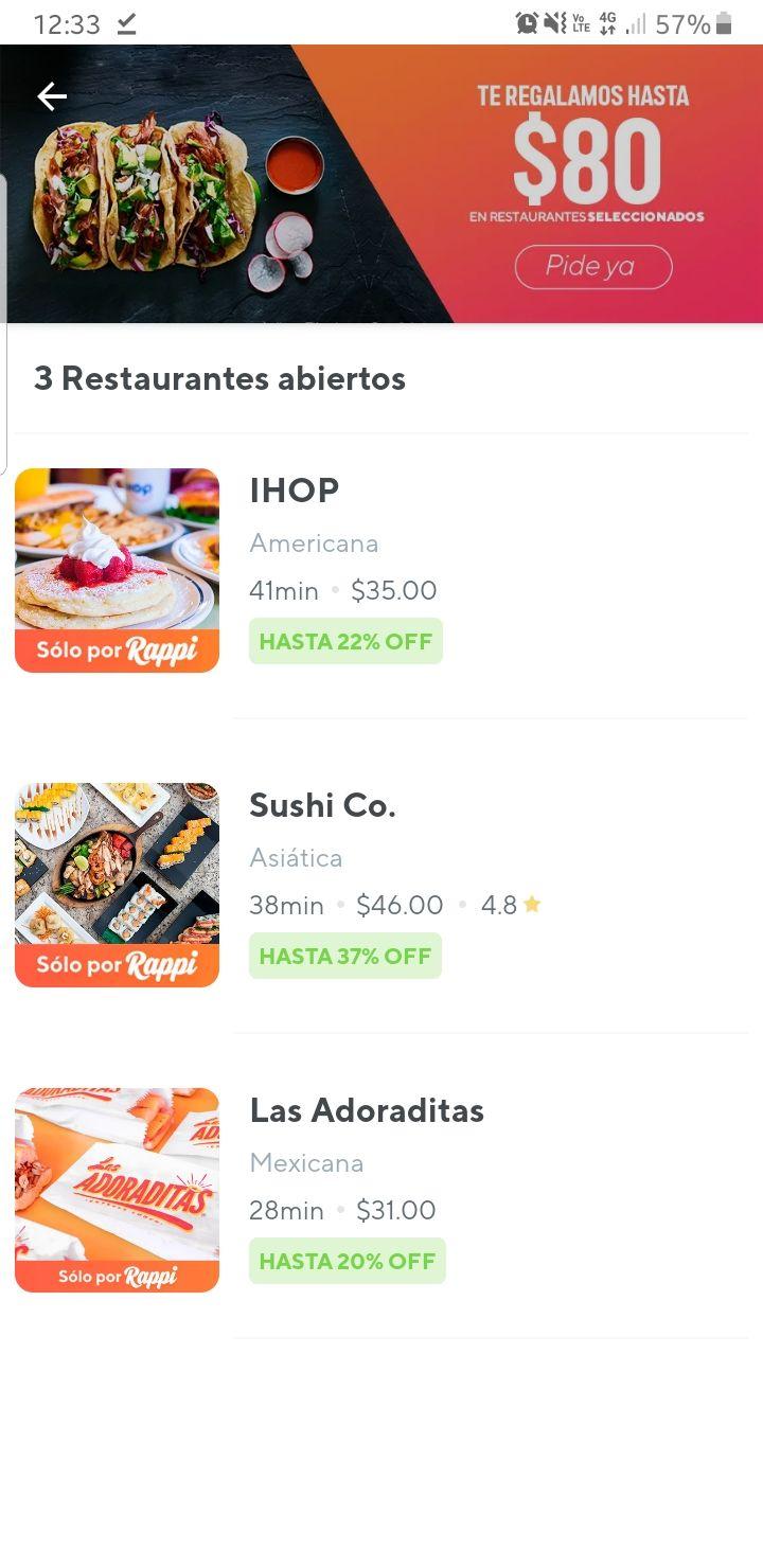 Rappi: Descuento $80 (min $150) restaurantes seleccionados
