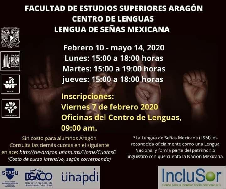 UNAM: Curso de Lengua de Señas Mexicana (LSM). Los precios varían.