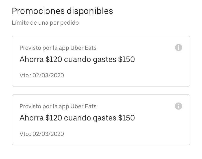 Uber Eats: Cupón de $120 gastando $150