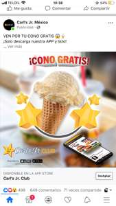 Cono Gratis Carls Jr. Descargando la App