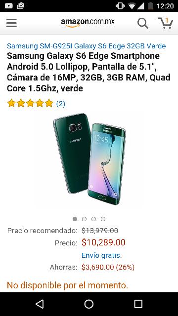 Amazon: Galaxy S6 edge verde a $10,289 ($8,745 con cupon saldazo)