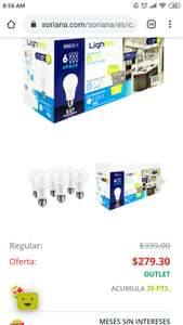 Soriana: 6 focos led 7w equivale 60w normales