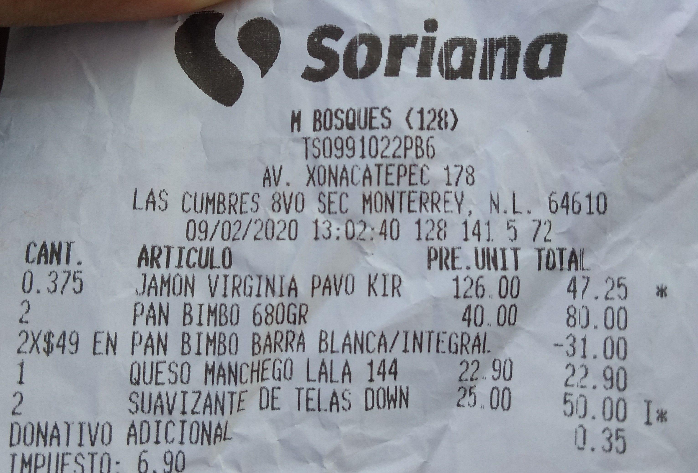 Soriana: 2 pan Bimbo integral grande por $49 y Downy de 1.35 L a $25