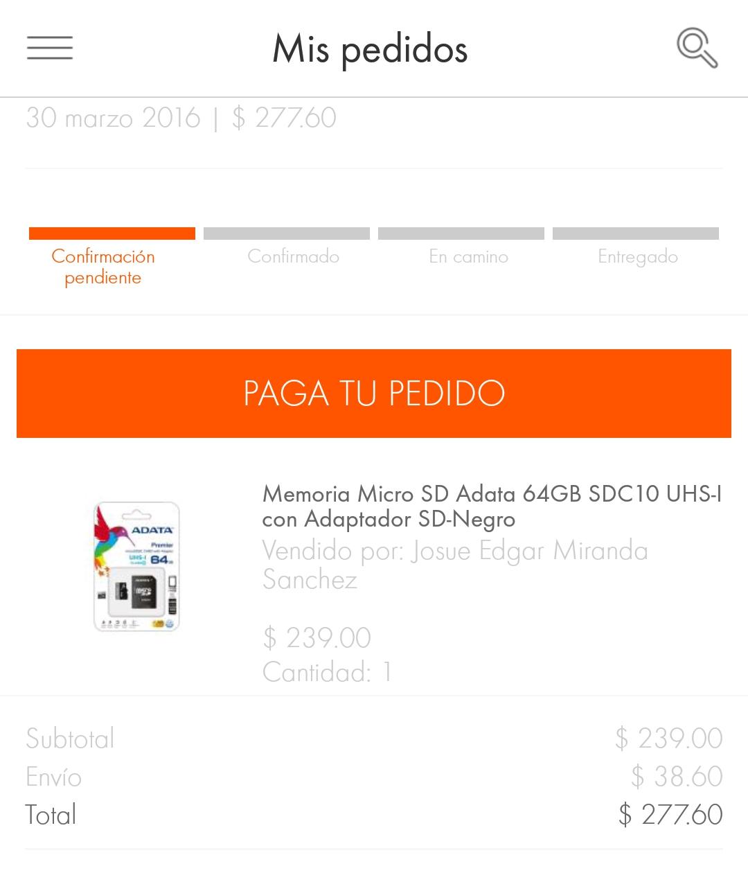 Linio: Micro SD 64 GB Adata Clase 10 UHS-I a $244.60 APLICANDO CUPON