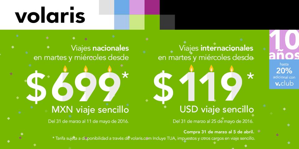 Volaris: vuelos nacionales en martes y miércoles desde $699 y a USA desde $119 dólares