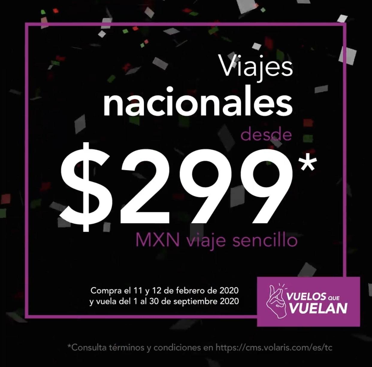 Volaris: Vuelos NACIONALES desde $299 e INTERNACIONALES desde $45 USD