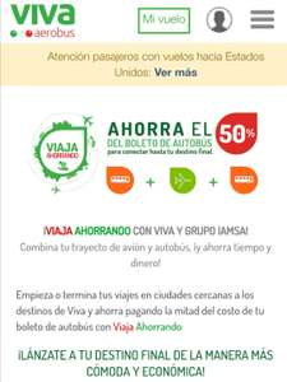 Vivaaerobus: 50% de descuento en boleto de autobus cuando vuelas
