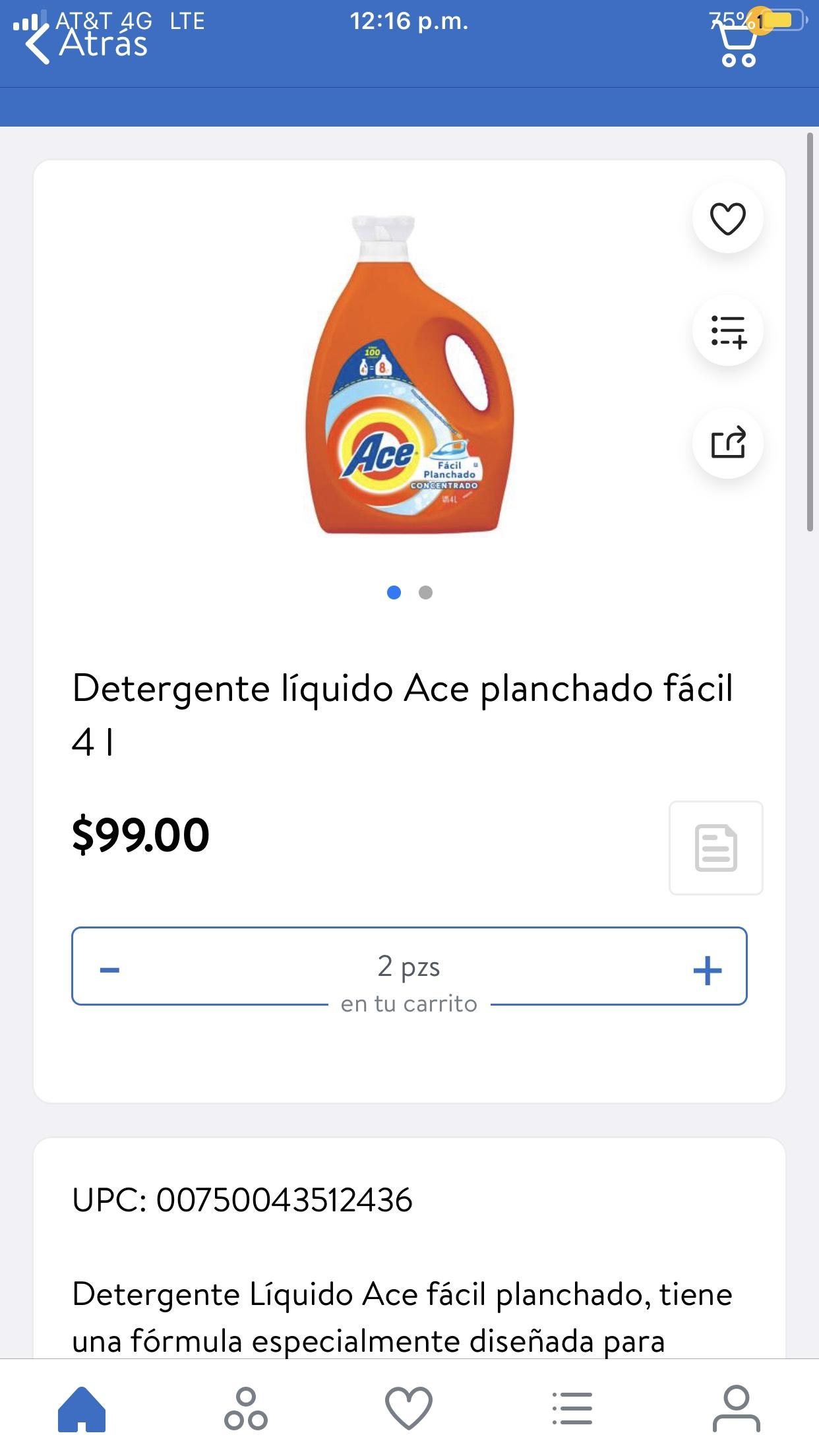 En Walmart Detergente Ace líquido planchado fácil 4 litros