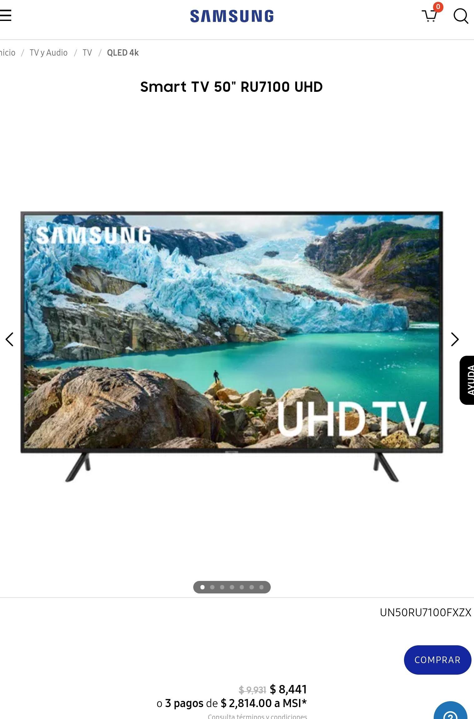 "Samsung Store: Smart TV 50"" RU7100 UHD"