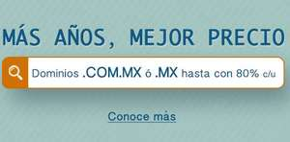 Dominios .mx hasta 80% de descuento desde $104 por año