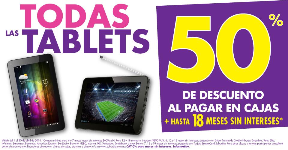 Suburbia: todas las tablets con 50% de descuento