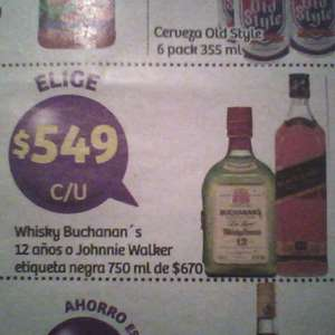 Soriana Hiper: Buchanan's o Johnnie Walker etiqueta negra de 750ml a $549