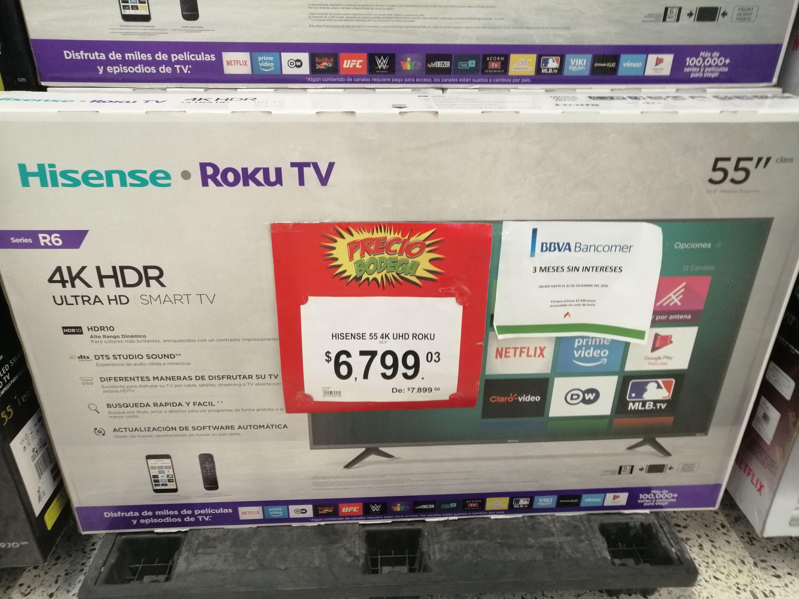 "Bodega Aurrera: Pantalla 55"" Hisense Roku TV 4k HDR"