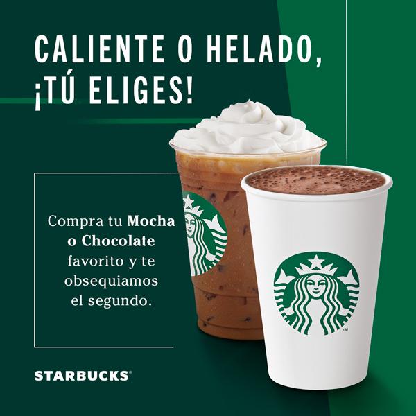 Starbucks en la compra de un mocha o chocolate favorito el segundo es gratis