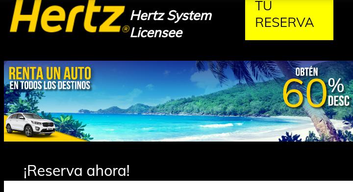 Hertz 60% de descuento en renta de auto
