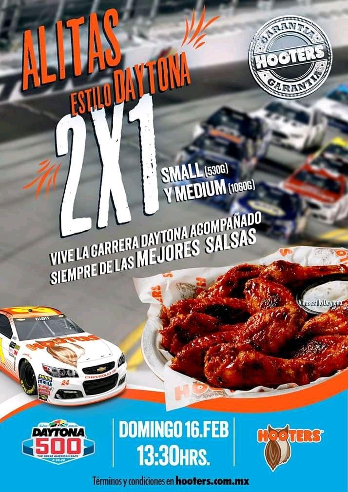 Hooters: 2X1 en Alitas Estilo Daytona