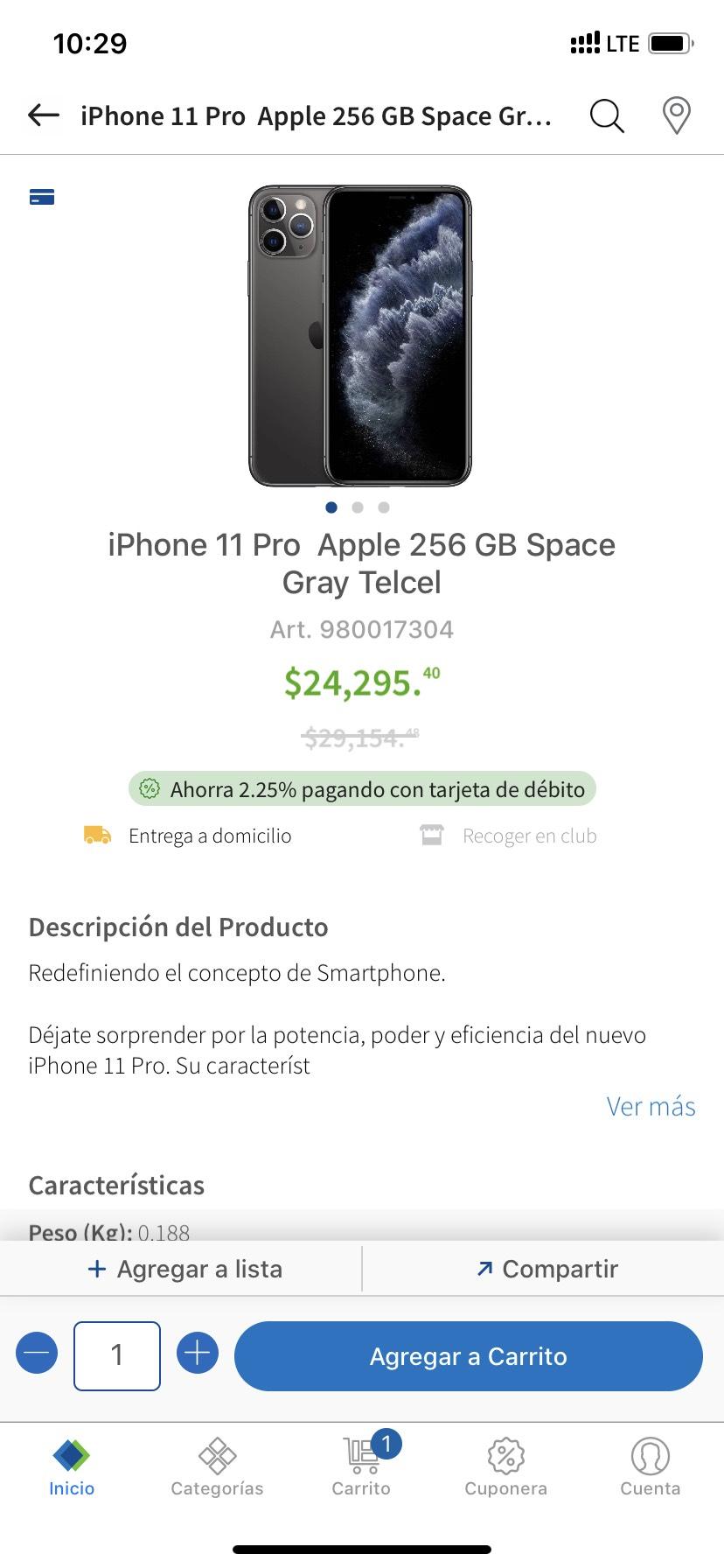 Sam's Club : iPhone 11 pro 256 Gb Space Gray Telcel