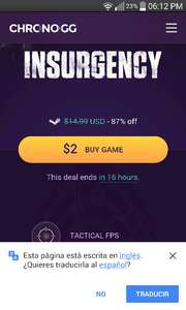 Chrono.gg: juego Insurgency a $2usd ($36mxn aprox.)