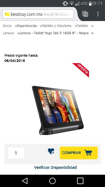"Best Buy en linea: Lenovo Tablet Yoga Tab 3 16Gb 8"" Negra a $2,699"