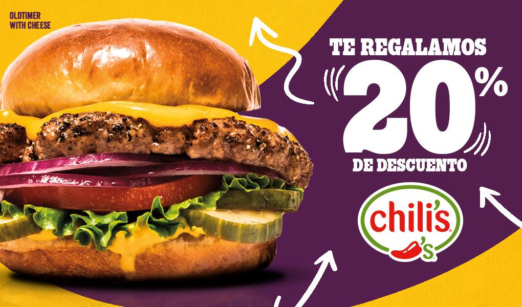 Chili's 20% en consumo total de la cuenta
