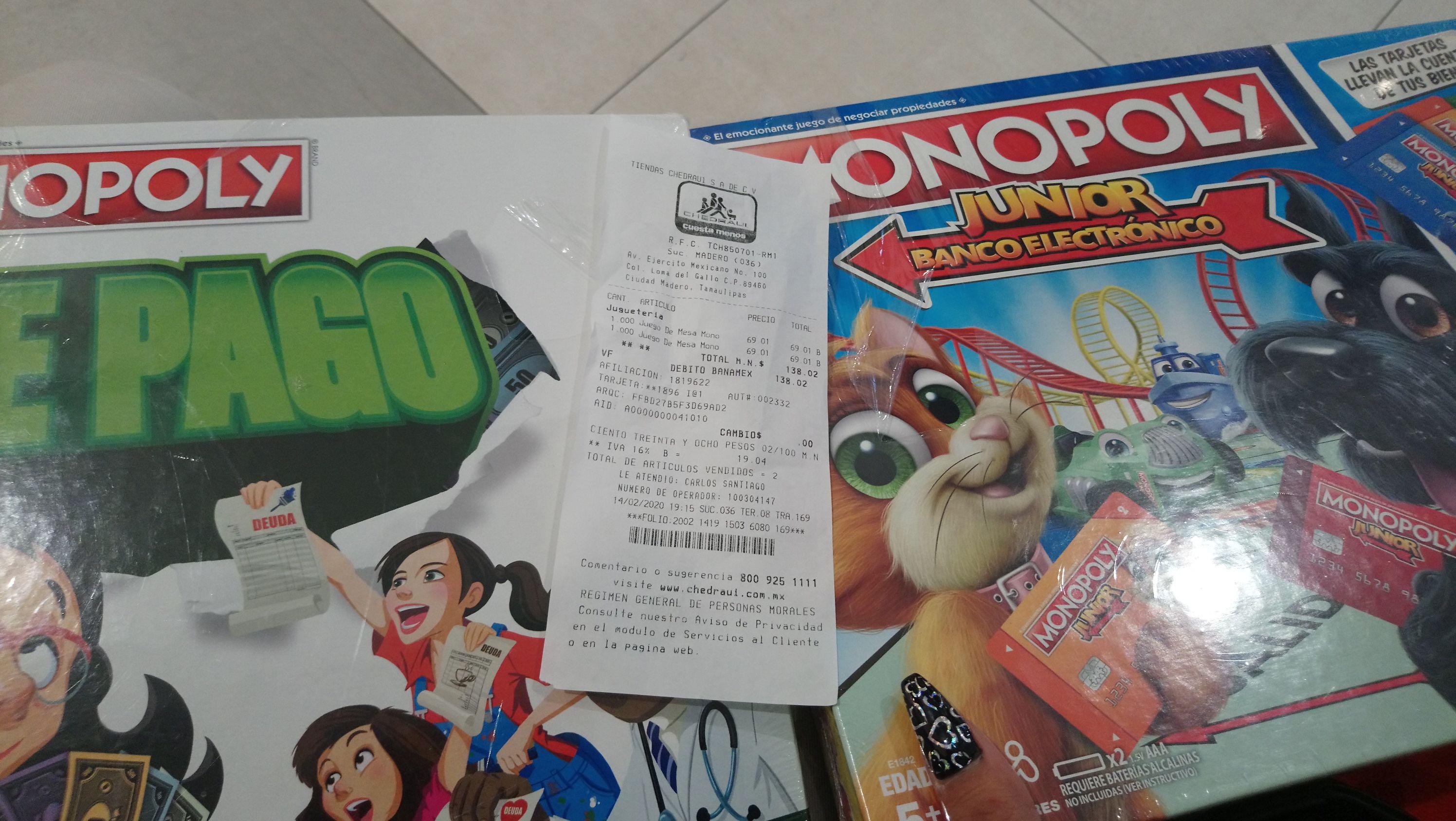 Chedraui: Monopoly Junior y Monopoly Día de Pago