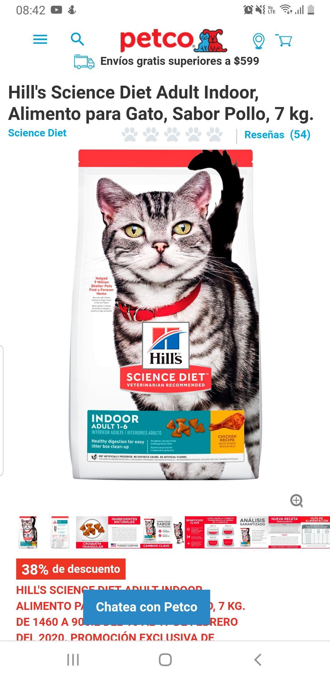 Petco: Hill's Science Diet Adult Indoor, Alimento para Gato, Sabor Pollo, 7 kg.