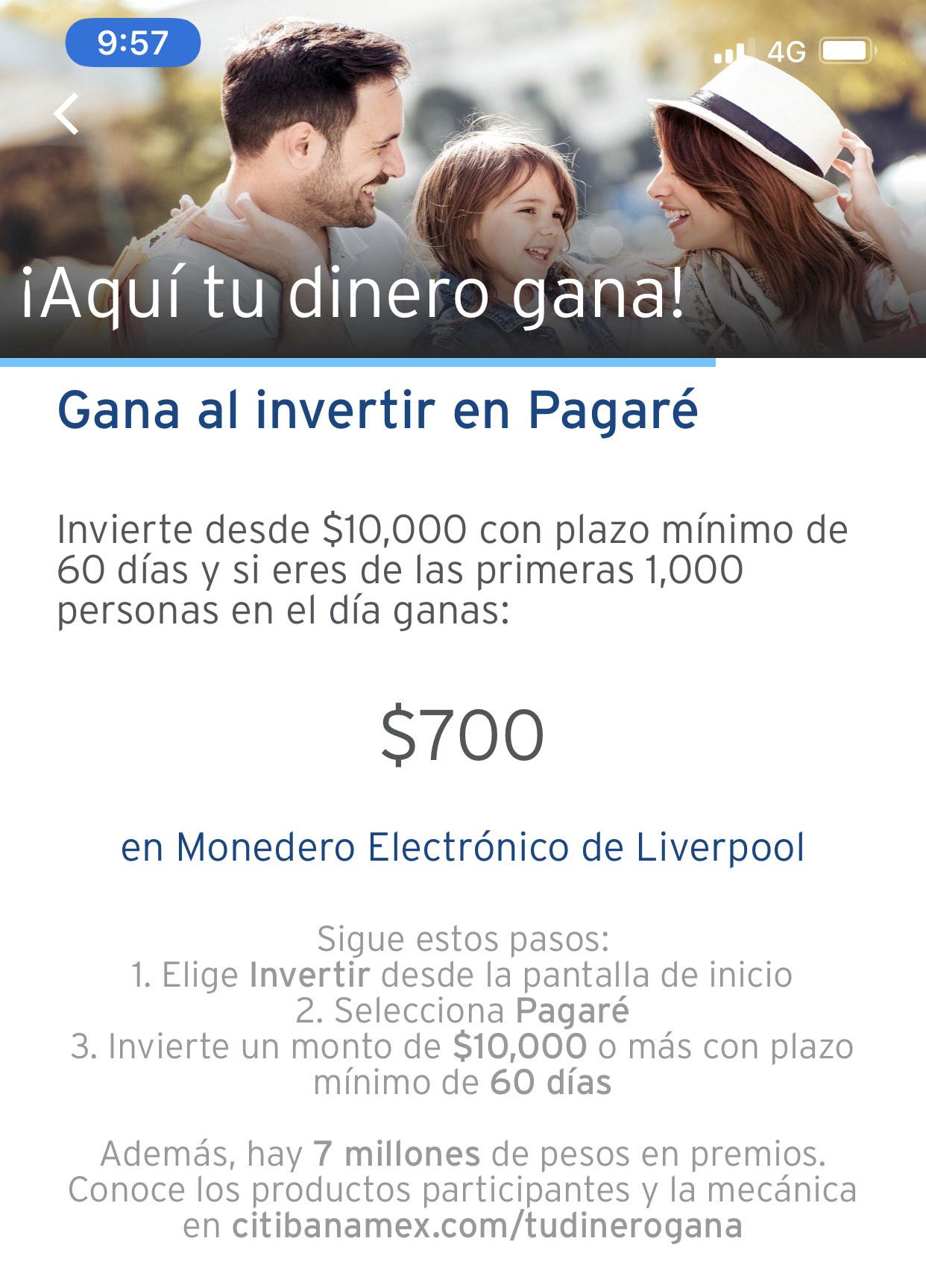 Citibanamex: $700 en Monedero Liverpool