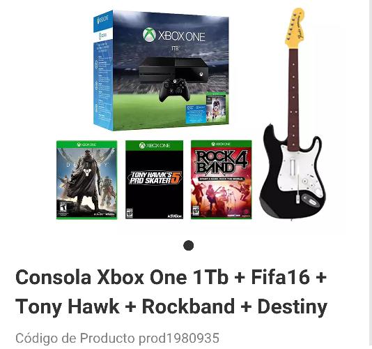 Liverpool en línea: Xbox One 1Tb + RockBand + 3 Juegos a $7,999
