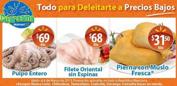 Ofertas de carnes y mariscos en Chedraui y Walmart marzo 8