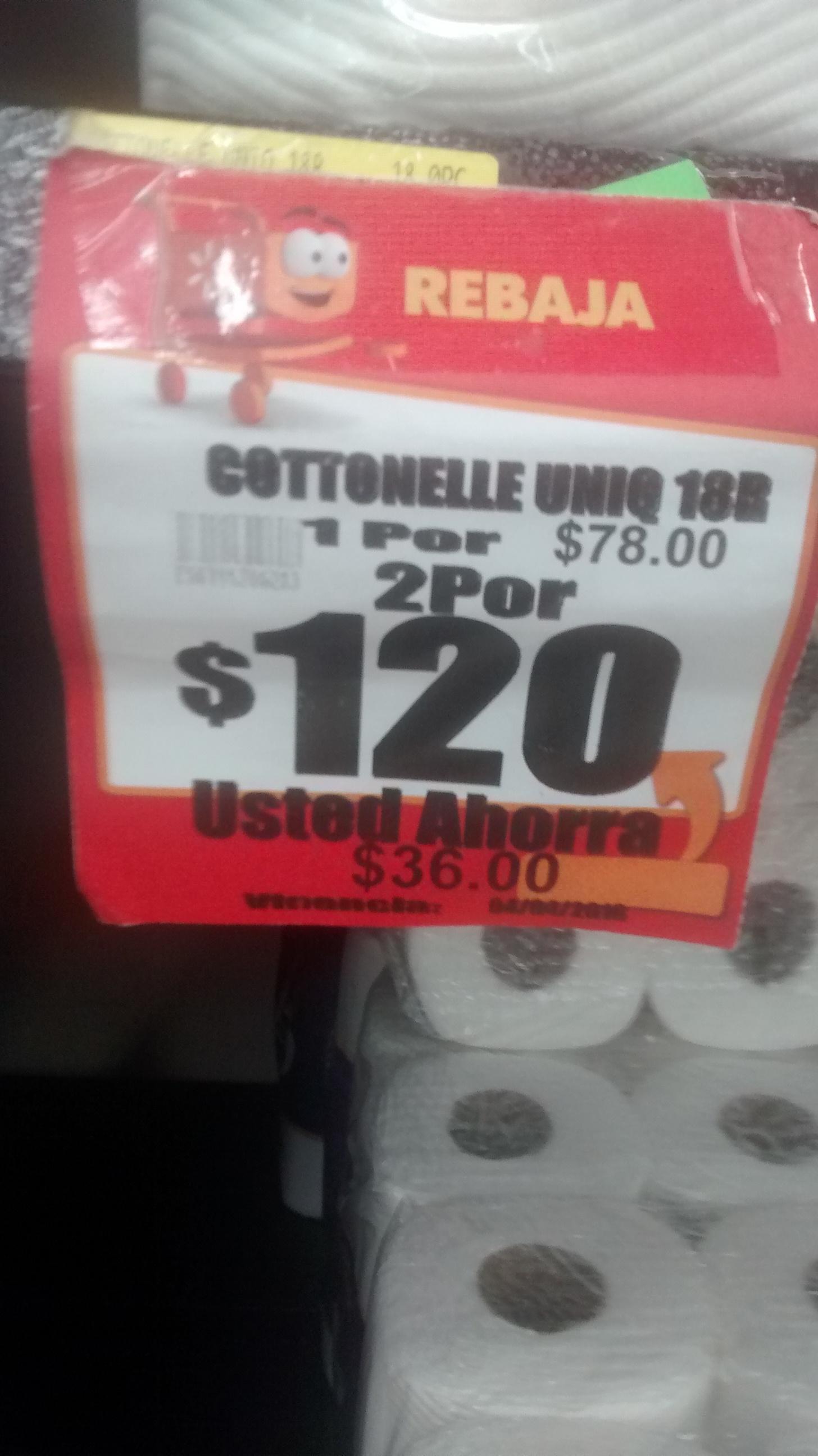 Walmart Puebla Ánimas: 2 paquetes de 18 rollos Cottonelle por $120