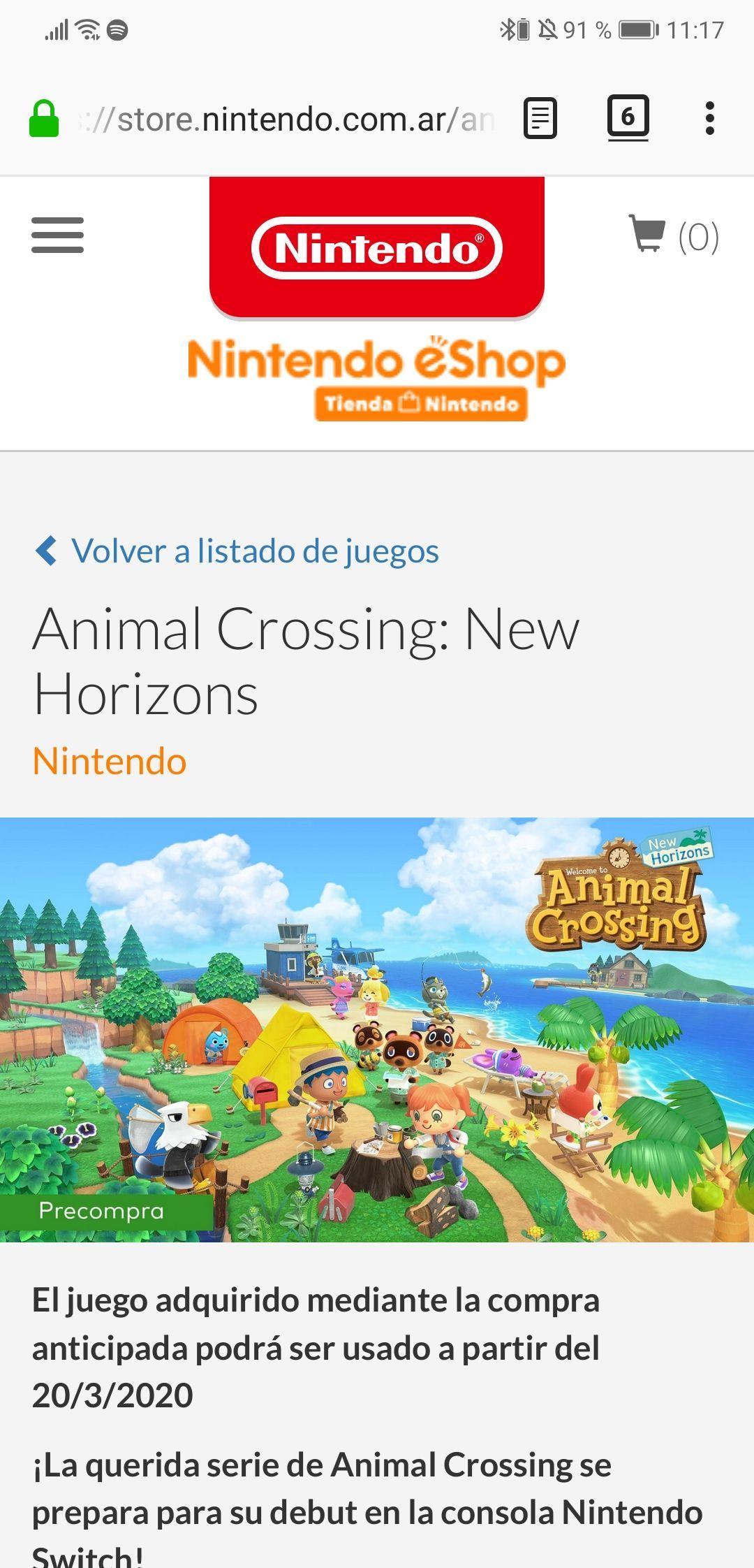Nintendo eShop Argentina: Animal Crossing New Horizon Preventa EShop Argentina (código digital para canjear)