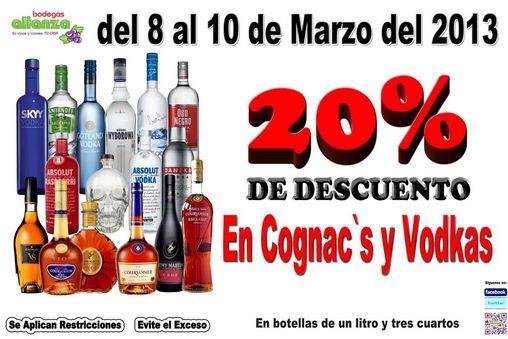 Bodegas Alianza: 20% de descuento en cognacs y vodkas y 3x2 en vinos