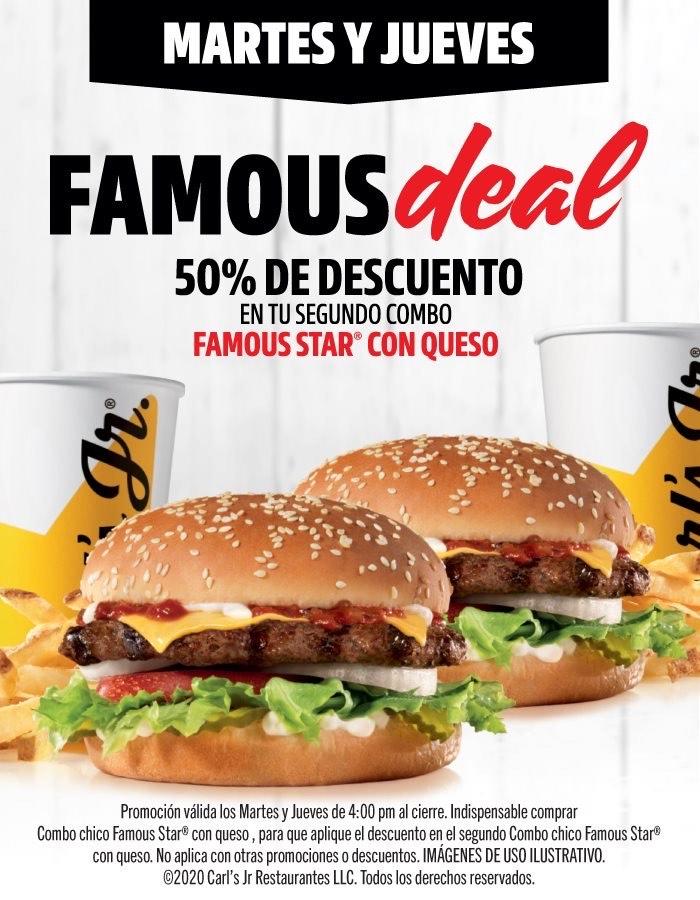 Carl's Jr 50% de descuento en 2do combo Famous Star