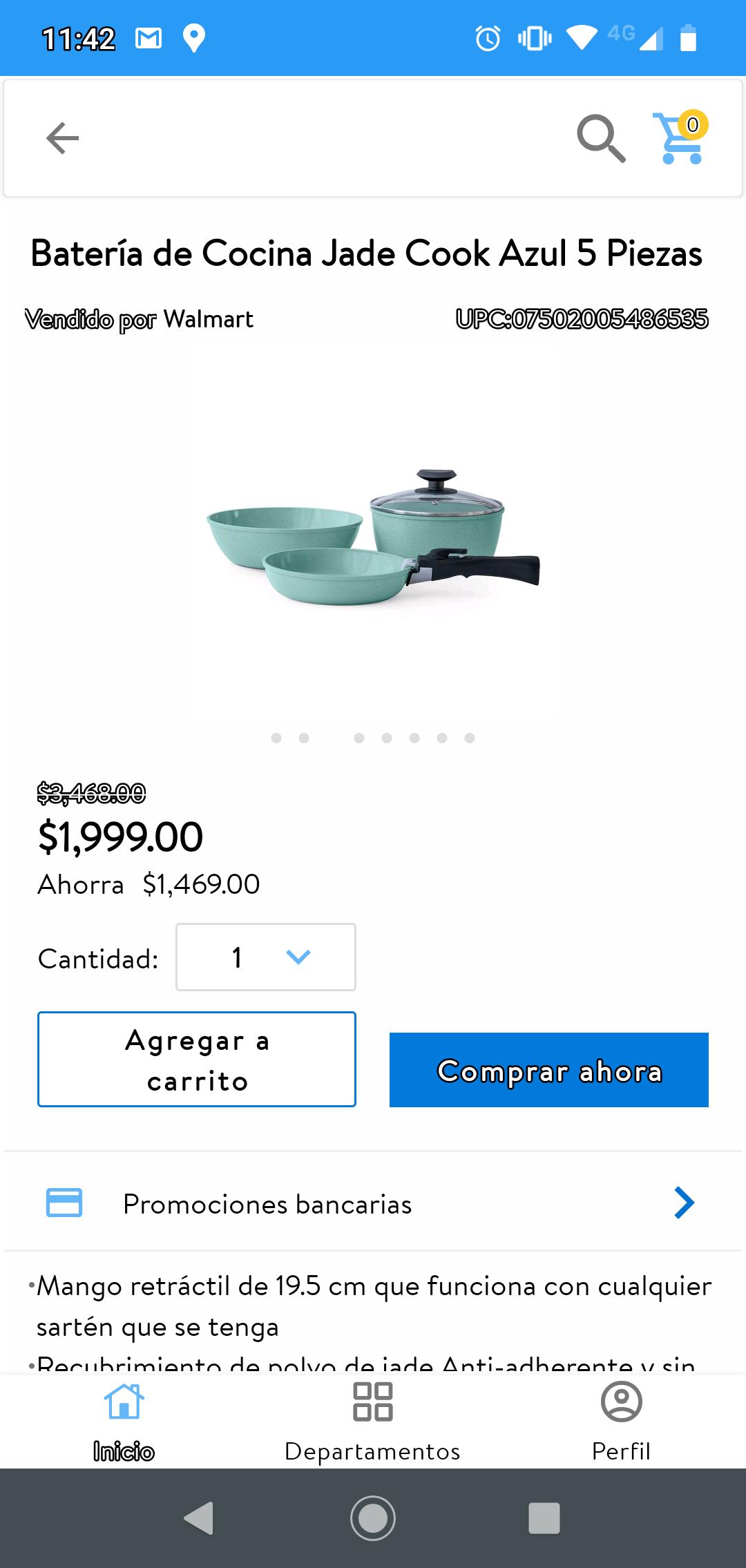 Walmart Batería de Cocina Jade Cook Azul 5 Piezas De $3468 a $1999
