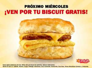 Carl's Jr: biscuits gratis el 6 de abril