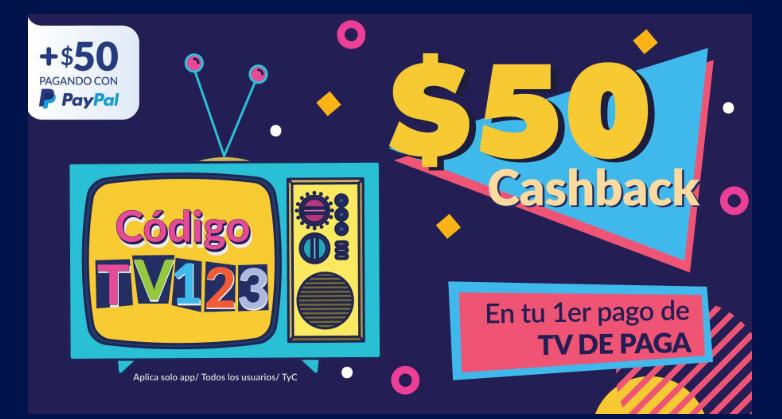 Undostres: $50 Cashback +50 pagando con paypa len tu primer pago de televisión de paga.