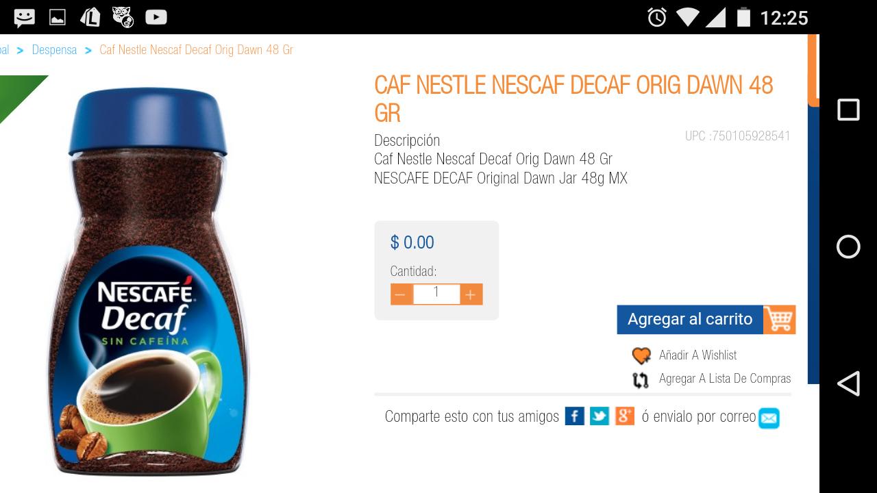 Chedraui Ánfora CDMX en linea: Nescafé decaf 48 y 90 gr. a $0