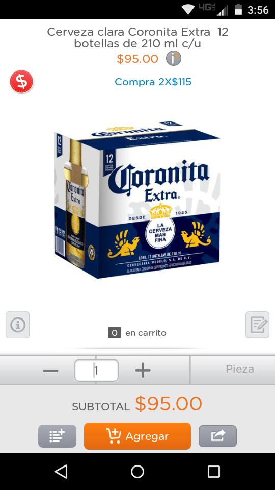 Superama en línea: 24 botellas Coronita Extra (ó VICTORIA) por $115
