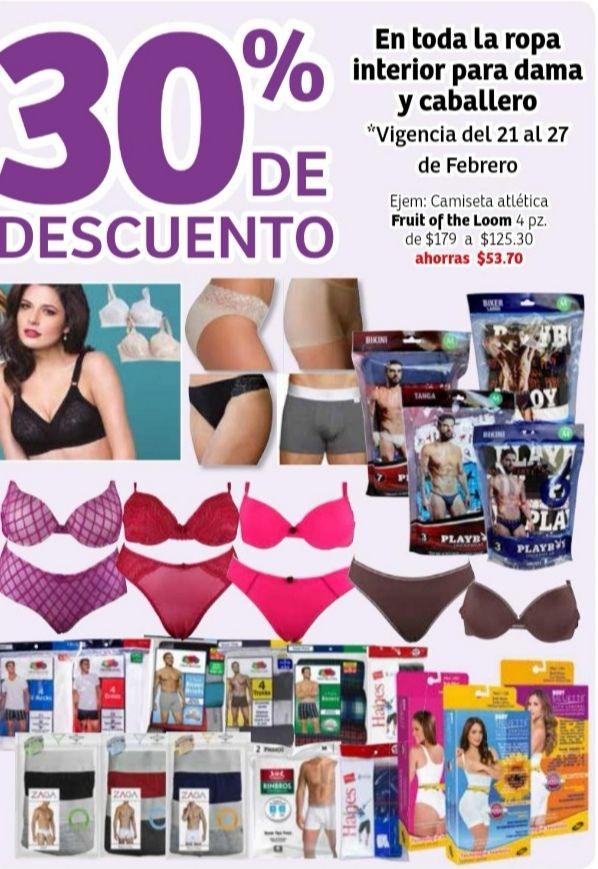 Soriana Híper: 30% de descuento en toda la ropa interior para dama y caballero