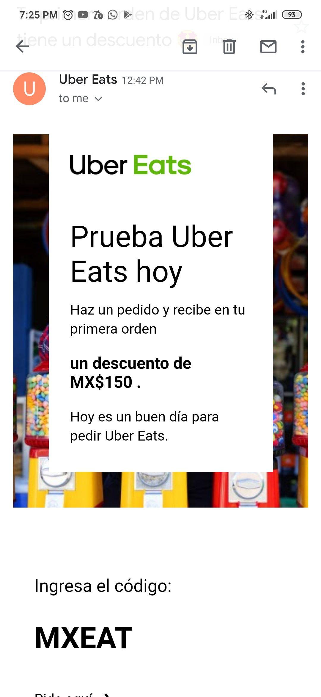 Uber eats: $150 de descuento en primer pedido de $200 *cuentas nuevas*
